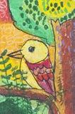 Uccello come illustrazione di carta bianca Fotografia Stock Libera da Diritti