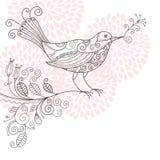 Uccello con i fiori Immagini Stock