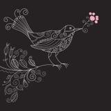 Uccello con i fiori Immagini Stock Libere da Diritti