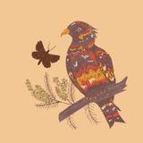 Uccello con i fiori Fotografia Stock Libera da Diritti