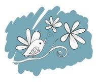 Uccello con i fiori, illustrazione disegnata a mano Fotografia Stock