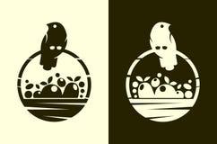 Uccello con l'icona tagliata canestro pieno del raccolto illustrazione vettoriale