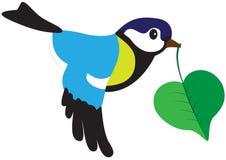Uccello con una foglia Fotografia Stock Libera da Diritti