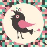 Uccello curioso con fondo d'annata Fotografie Stock Libere da Diritti