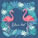 Uccello del fenicottero e fondo tropicale dei fiori - retro modello immagini stock libere da diritti