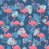 Uccello del fenicottero e fondo tropicale dei fiori - retro modello senza cuciture royalty illustrazione gratis
