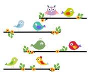 Uccello del fumetto su un albero Fotografia Stock