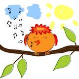 Uccello del fumetto sul ramo che canta un'aria Immagini Stock
