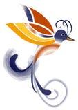Uccello del paradiso - blu ed arancia Fotografia Stock Libera da Diritti
