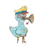 Uccello del pirata con una gamba di legno in un cappuccio del mare con un tubo di fumo e una canna, tiraggio della mano, isolato  Fotografie Stock Libere da Diritti