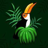 Uccello del tucano e foglie tropicali royalty illustrazione gratis