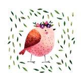 Uccello dell'acquerello Fotografie Stock