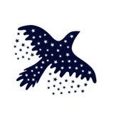 Uccello della notte Uccello e stelle di volo isolati su bianco Fotografia Stock