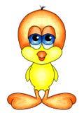 Uccello di bambino con i grandi piedi arancio illustrazione di stock
