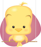 Uccello di bambino giallo sveglio Immagini Stock Libere da Diritti