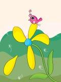 Uccello di caduta del petalo del fiore Immagine Stock