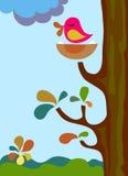 Uccello di canto su un albero Fotografia Stock