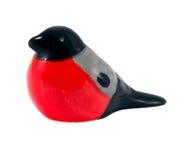 Uccello di ceramica sveglio isolato su priorità bassa bianca Immagine Stock