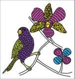 Uccello di colore di Zentangle Fotografie Stock Libere da Diritti