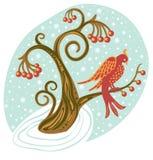 Uccello di inverno su un piccolo albero Immagine Stock Libera da Diritti