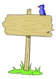 Uccello di legno del segno Immagini Stock Libere da Diritti