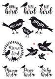 Uccello di mamma, uccello del papà, bambino, insieme di vettore Immagini Stock Libere da Diritti