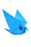 Uccello di Origami sopra bianco Fotografia Stock