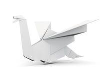 Uccello di origami su fondo bianco 3d rendono i cilindri di image Fotografia Stock