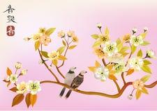 Uccello di Sakura. cartolina Immagine Stock