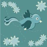 Uccello di volo con i fiori Illustrazione di Stock
