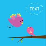 Uccello di volo ed uccello di bambino. Carta. Fotografia Stock