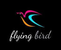 Uccello di volo sul nero illustrazione di stock
