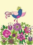 Uccello divertente variopinto decorativo sui fiori Immagini Stock