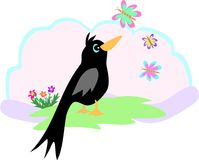Uccello e farfalla neri Fotografie Stock