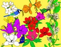 Uccello e fiori Immagine Stock Libera da Diritti