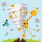 Uccello e tornado della giraffa Immagine Stock Libera da Diritti
