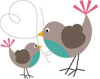 Uccello e uccellino Fotografia Stock Libera da Diritti