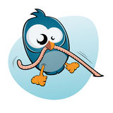 Uccello e verme del fumetto Fotografia Stock Libera da Diritti