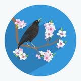 Uccello fatto nello stile piano Fotografia Stock Libera da Diritti