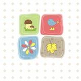Uccello, fiore, foglio, fungo. Illustrazione di vettore Immagine Stock