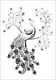 Uccello. Illustrazione nera su bianco Fotografia Stock Libera da Diritti