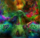 Uccello leggiadramente di Phoenix di verde smeraldo, PA ornamentale variopinto di fantasia Immagini Stock Libere da Diritti