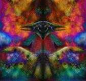 Uccello leggiadramente di Phoenix di verde smeraldo, pittura ornamentale variopinta di fantasia, collage Fotografie Stock