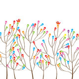 Uccello moderno dell'albero variopinto illustrazione di stock