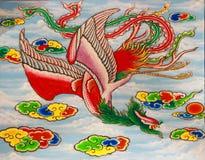 Uccello nello stile della pittura di arte del cinese tradizionale Immagine Stock