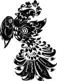 Uccello nero astratto su bianco Fotografia Stock Libera da Diritti