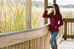 Uccello-osservatore grazioso di autunno fotografia stock