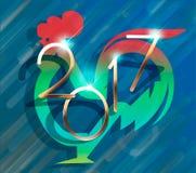 Uccello rosso del gallo del gallo Calendario di cinese di simbolo del testo del nuovo anno Carattere divertente del fumetto svegl Immagine Stock Libera da Diritti