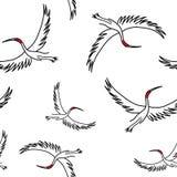 uccello senza cuciture della gru di sarus del modello, illustrazione animale di vettore illustrazione di stock