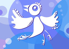Uccello-su-blu-priorità bassa Fotografia Stock